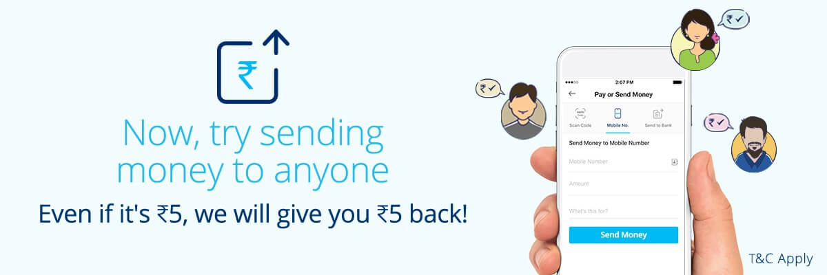 PayTm Send Rs 5 and Get Rs 5 Cashback