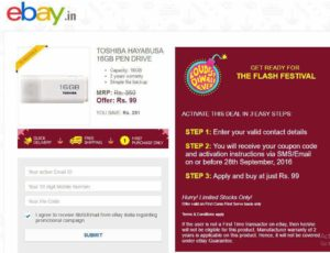 [Expired] eBay coupons Flat Free Rs 100 off on 150
